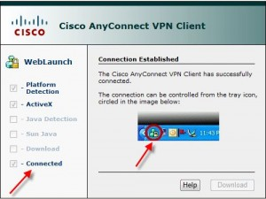 Selecting Cisco AnyConnect VPS client from the bottom toolbar
