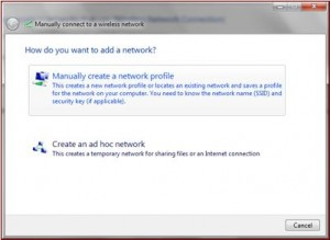 manually creating a network profile