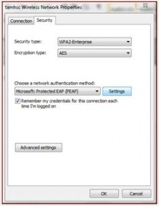 """Selecting """"security"""" tab and """"settings"""""""