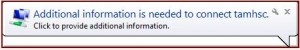 Additional information needed dialog box