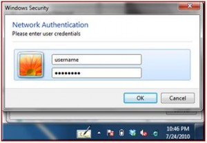 entering username and password