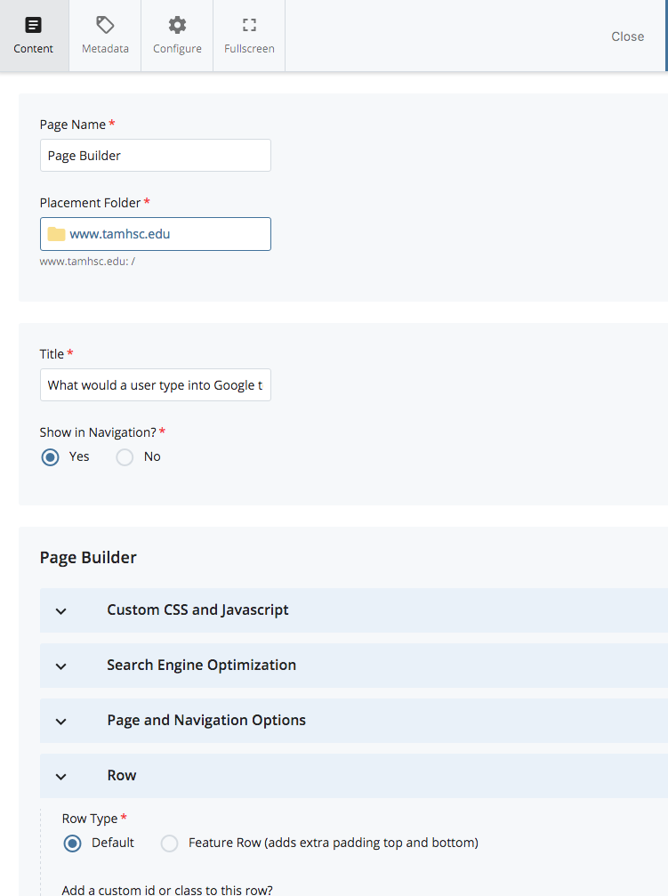 page builder panel