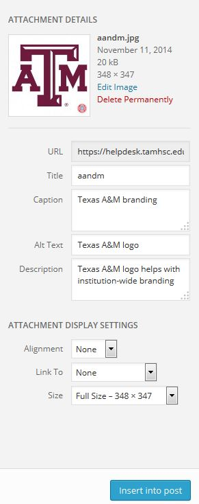image settings within WordPress