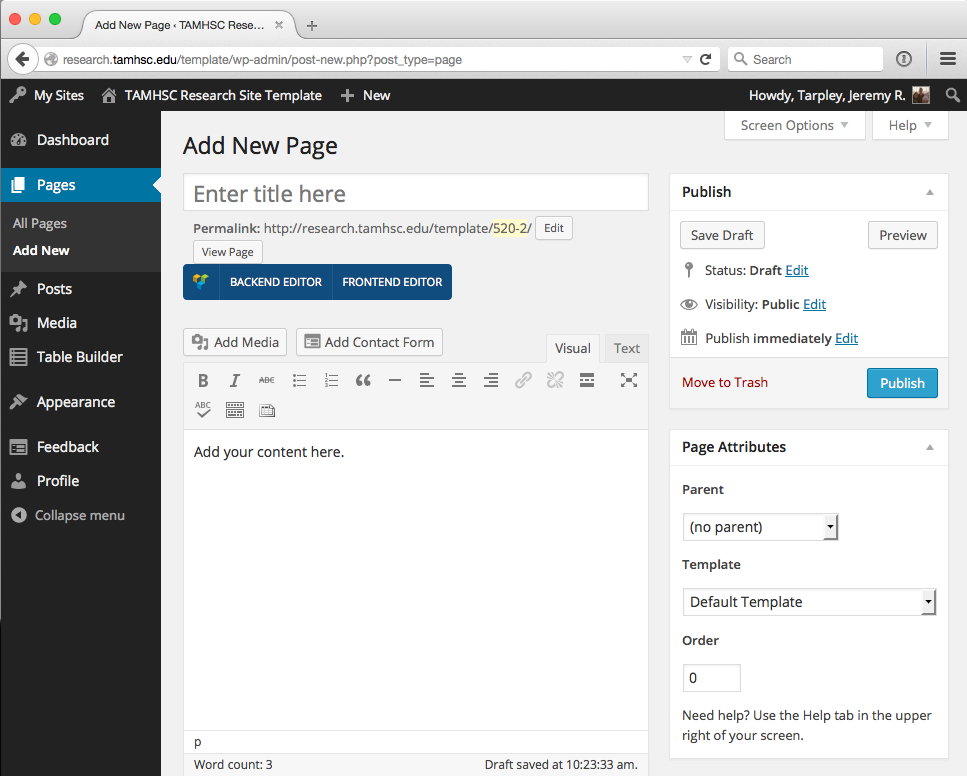 screenshot of wordpress menu for adding a new page