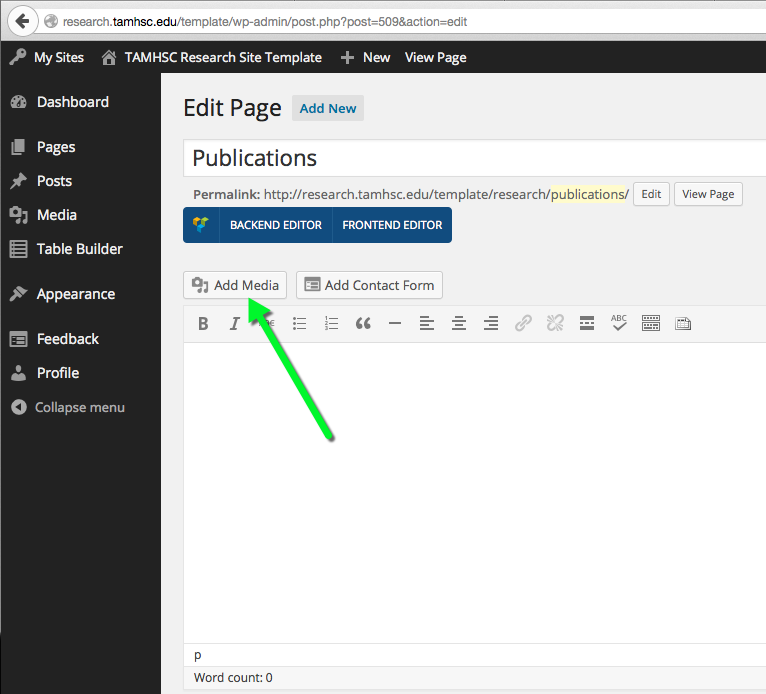 Screenshot showing where the add media button is in WordPress