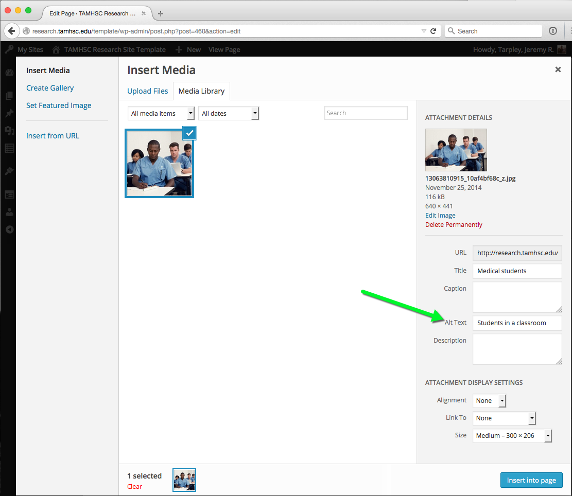 Screenshot showing how to add alt text to an image in wordpress