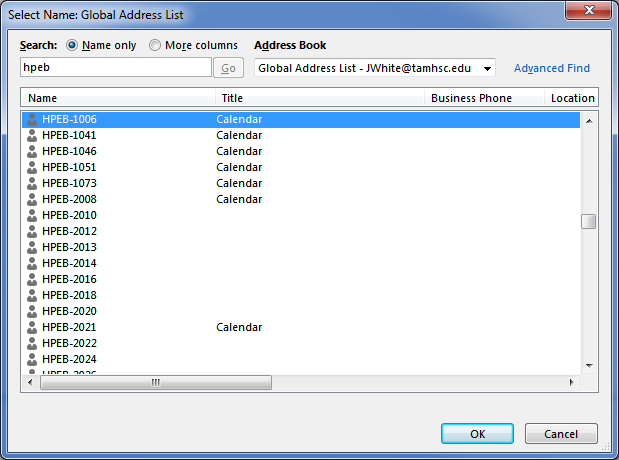 Screenshot from Outlook, search for a shared calendar