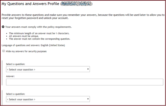 Questions and Answers Profile screen