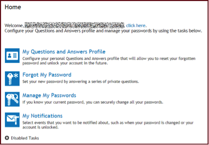 Password Manager Options screen