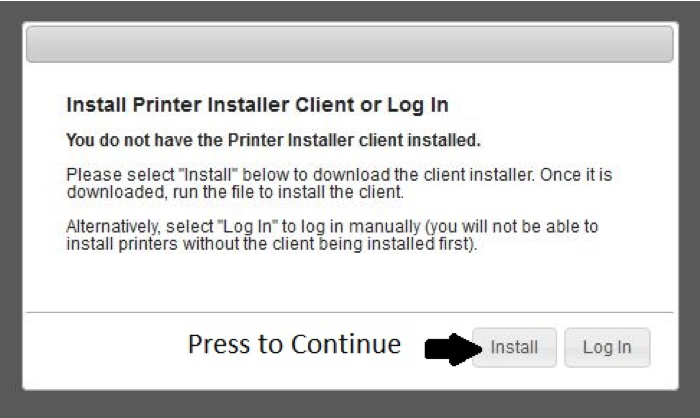 Printer Installation Screen
