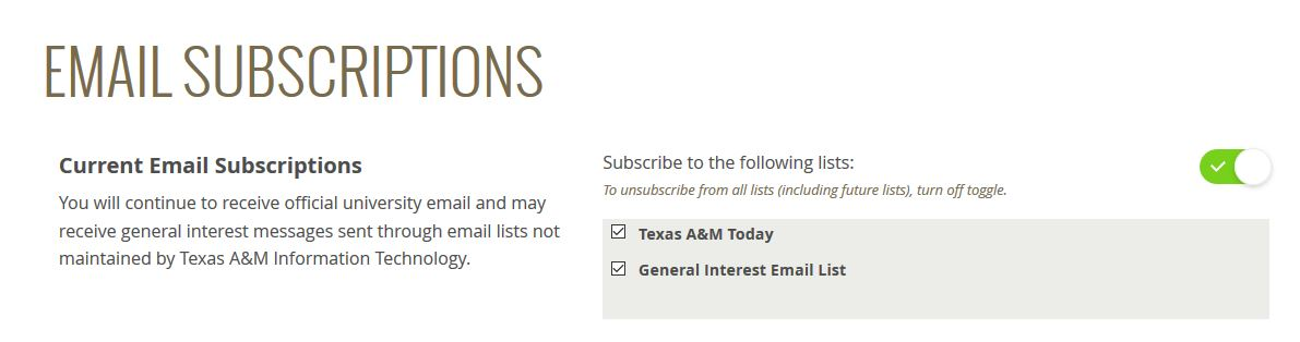 Mailing list checkboxes