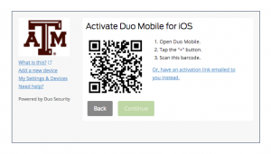 QR barcode for activation