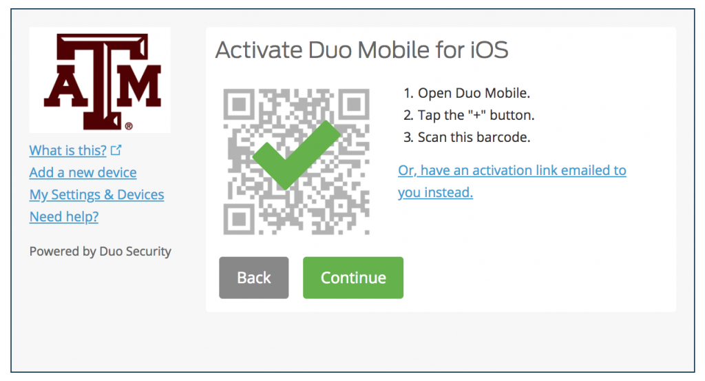 Duo Mobile QR activation